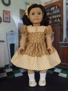 This is a style typical of what would have been worn by girls in the 1940s. This is made to fit American Girl dolls, or other dolls of similar size.