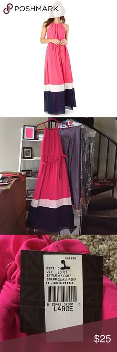 Hot pink blue and white maxi dress with tags Hot pink navy blue and white maxi large with tags. Never been worn. See last photo for length. Super cute I just have 4 pink maxis 😂😂😂 bundle and save! Dresses Maxi