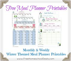 Free Winter Themed Meal Planner Printables (Weekly & Monthly Printable Sets) *Instant Download*