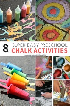 You will love these chalk activities for preschoolers! Everything from using them with art, in the sensory bin, and as part of a science activity. Fun and playful ideas! Nursery Activities, Activities For 2 Year Olds, Outdoor Activities For Kids, Home Activities, Toddler Activities, Learning Activities, Summer Preschool Activities, Classroom Activities, Preschool Art