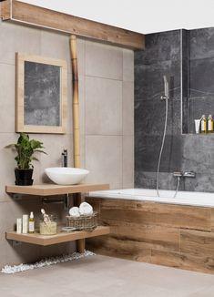Modern Bathroom Decor, Wood Bathroom, Bathroom Design Small, Bathroom Styling, Modern Decor, Master Bathroom, Attic Shower, Dream Bathrooms, Interior Design Kitchen