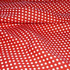 Pünktchenstoff weiß auf rot. Kreppstruktur. Breite: 90 cm Material: 100% Viskose