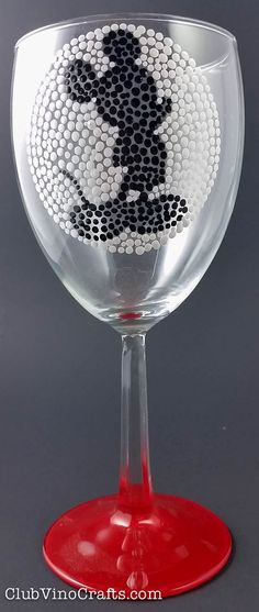 Custom Mickey Mouse-Inspired Wine Glass by ClubVinoCrafts - Top-rack dishwasher safe, all silhouette designs are the same size on the glass so that you can mix and match to create your own set! Custom color on the bottom. #disney