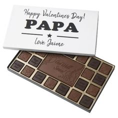 HAPPY VALENTINES DAY PAPA GRANDFATHER FATHER 45 PIECE BOX OF CHOCOLATES - kitchen gifts diy ideas decor special unique individual customized