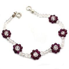 Garnet and crystal quartz silver plated bracelet