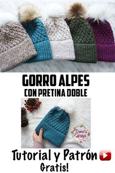 Beautiful Double brim Alpes beanie, free video tutorial with the step by step! Super easy and fast Diy Crochet And Knitting, Knitting Blogs, Crochet Beanie, Knitting Patterns Free, Free Knitting, Knitted Hats, Free Pattern, Crochet Patterns, Crochet Hats