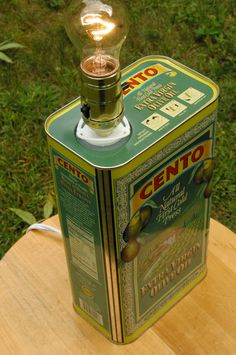 Items similar to CentoOlive Oil Tin Lamp on Etsy Pipe Lighting, Rustic Lighting, Cool Lighting, Homemade Lighting, Homemade Lamps, Recycling Containers, Tin Containers, Tin Can Art, Man Cave Furniture