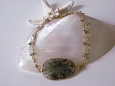 Semi Precious Moss Agate and Quartz Bracelet by WendyWongJewelry, $95.00