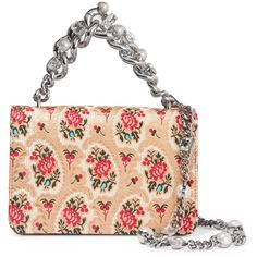 Miu Miu Mogador floral-jacquard shoulder bag ($2,075) ❤ liked on Polyvore featuring bags, handbags, shoulder bags, borse, beige, beige handbags, chain shoulder bag, cell phone shoulder bag, miu miu shoulder bag and shoulder bag purse