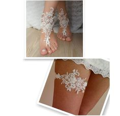 Barefoot and garter set embroidered sandals ivory and white french lace sandals wedding set sexy rustic bohemian accessories Ivory Wedding Garter, Lace Garter, Garter Set, Bohemian Accessories, Wedding Accessories, Bridal Shower Rustic, Magical Wedding, Bare Foot Sandals, French Lace
