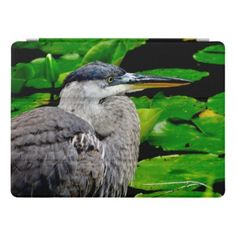 Blue Heron with Water Lilies iPad Pro Cover - animal gift ideas animals and pets diy customize