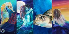From SeahorseGallery.com with plenty of sea life and mermaid paintings - love the colors!