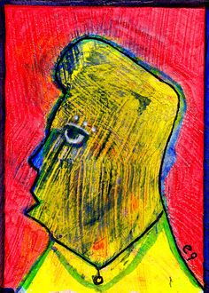 man of many colors e9Art ACEO Outsider Art Brut Painting One-of-a-Kind Original  #OutsiderArt