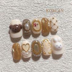 Kawaii Nail Art, Cute Nail Art, Cute Nails, Pretty Nails, Soft Nails, Pastel Nails, Gel Nails, Manicure, Asian Nails
