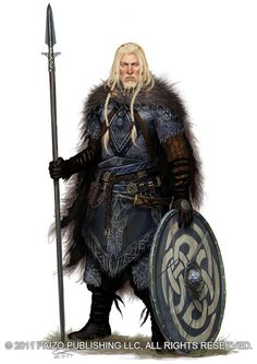 Male warrior with spear and shield - viking-like Asvig by *Akeiron on deviantART