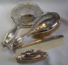 Art Nouveau , Sterling Silver Dresser Set, C.