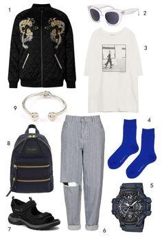 CHỦ NHẬT: 1 áo khoác Marks & Spencer, 2  mắt kính Accessorize, 3 áo thun Zara, 4 vớ Topshop, 5 đồng hồ Casio, 6 quần jeans Topshop, 7 sandals Ecco, 8 ba lô Marc Jacobs, 9 vòng tay Warehouse