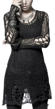 Punk Rave Visual Kei Loose-Knit Pullover Tunic Black.For feminine Boys okey.Can wear them.