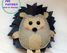 Felt hedgehog woodland animal ornaments pattern PDF sewing easy pattern felt woodland animal ornaments baby mobile toy kids craft DIY softie