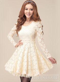 US$44.99 Best Quality Korean Style Slim Long Sleeve Lace Dress. #Dresses #Long #Slim #Sleeve