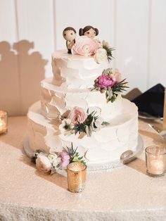 Add an adorable touch to your wedding cake by getting wooden miniature cake toppers of you and your future spouse.