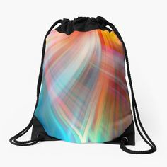 Framed Prints, Canvas Prints, Art Prints, Woven Fabric, Cotton Tote Bags, Drawstring Backpack, Waves, Rainbow