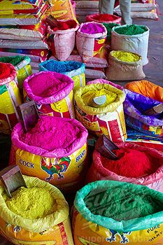 bright colorful spices at a market