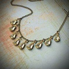 Vintage Rhinestone Necklace, Bride, Wedding, Yellow, Jonquil, Jewelry by rewelliott on Etsy #etsyfollow #jewelry #necklace @Rew Elliott