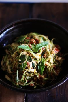 ZUCCHINI SPAGHETTI with SUN-DRIED TOMATOES & BASIL, from This Rawsome Vegan Life