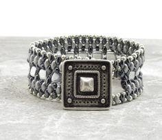 SUPERDUO CZECHMATE TILE Bracelet-Silver and Hematite Super Duos-Silver Czechmate Tiles-Two Hole Beads-Cuff Bracelet-Square Button