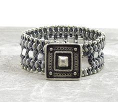 SUPERDUO CZECHMATE TILE Bracelet-Silver and Hematite Super Duos-Silver Czechmate Tiles-Two Hole Beads-Cuff Bracelet-Square Button
