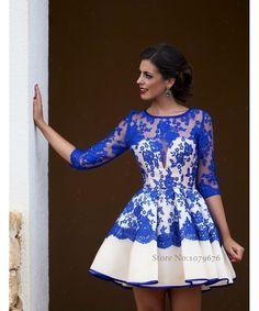 Aliexpress.com: Comprar Moda elegante pura azul real vestidos cóctel 2015 recién llegado vestido de fiesta corto con mangas del partido del cordón vestido DSC002 de vestir david fiable proveedores en Dresses Season