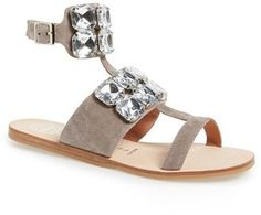 Jeffrey Campbell 'Sabita' Jeweled Suede Ankle Strap Sandal (Women)