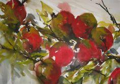 Appels, aquarel