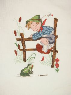 Hummel Completed Vintage 80s Cross Stitch Retreat to Safety via Etsy
