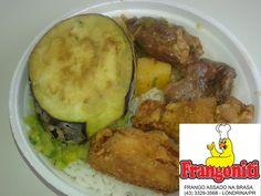 Disque Marmitex 3329-3568 Cardápio do dia: Carne com mandioca (vaca atolada), asinha de frango frito, abobrinha refogada, berinjela frita, arroz com feijão mais a salada. Mini R$ 7 media R$ 8 grande R$ 10