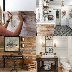 30 best DIY shiplap wall and pallet wall tutorials and beautiful ideas for every room. Plus alternative methods to get the wood wall look easily! - A Piece of Rainbow Wooden Pallet Wall, Pallet Wall Decor, Diy Wood Wall, Diy Wall Decor, Wood Pallets, Diy Home Decor, Pallet Shelves, Wooden Walls, Diy Wood Stain