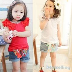 Girls Outfits Toddlers Kids Ruffled Sleeves T-shirt+ Bow-knot Jeans Pants 1-6Y **************************************** חליפה ליום יום הכוללת חולצת שרוולים מיוחדת ומכנס רק ב 32 כולל משלוח חינם לארץ. מידות עד גיל 6