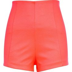 River Island Coral waffle textured high waisted shorts featuring polyvore, women's fashion, clothing, shorts, river island, bottoms, sale, high-rise shorts, high-waisted shorts, coral shorts and high waisted shorts