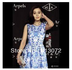 QZ406 de Moda de Nova Ladies'elegant azul porcelana chinesa vestido vestido estampado sem mangas ocasional magro Evening partido Marca projeto S-XL US $12.45 - 12.49