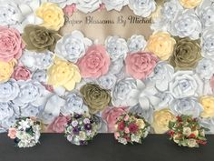 Paper Blossoms By Michal creates realistic and everlasting paper bouquets, ornaments, wreaths, and so much more! Handmade in Kalamazoo, MI. Backdrop Design, Diy Backdrop, Paper Flower Backdrop, Vintage Paper Crafts, Paper Bouquet, Large Paper Flowers, Paper Flower Tutorial, Backdrops For Parties, Dreamcatchers