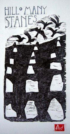 Lisa Hooper - Hill O Many Stanes - Linocut