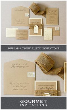 Our rustic invitations were designed for a bat mitzvah. The burlap invitation is wrapped with twine and a tag with each guest's name. PIN to your own boards and CLICK through to see the entire suite. Burlap Invitations, Brown Wedding Invitations, Addressing Wedding Invitations, Bat Mitzvah Invitations, Wedding Envelopes, Wedding Invitation Wording, Wedding Stationery, Barn Wedding Inspiration, Barn Wedding Decorations