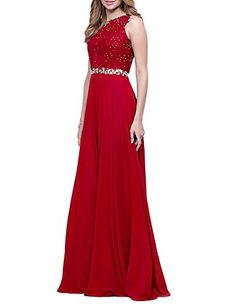 Meilishuo Womens Beading Applique Chiffon Prom Party Dresses Long 2017 Open Back Sequined Evening Gowns Formal LF018 >>> Click image to review more details.