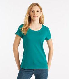 #LLBean: Double L® Rib-Knit Tee, Short-Sleeve Open Crewneck