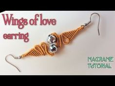Macrame tutorial: Earring wings of love pattern - step by step guide - YouTube