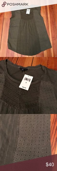 Lucky Brand NWT sleeveless top This army green sleeveless top has amazing details on the front of he shirt. NWT! Lucky Brand Tops