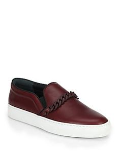Louis Leeman Chain Leather Slip-On Sneakers