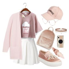"""Warm peach ootd"" by iapradnyaparamita on Polyvore featuring Boutique Moschino, By Malene Birger, Steve Madden, Amici Accessories, New Look, Kate Spade, Beats by Dr. Dre, Maybelline and Miss Selfridge"