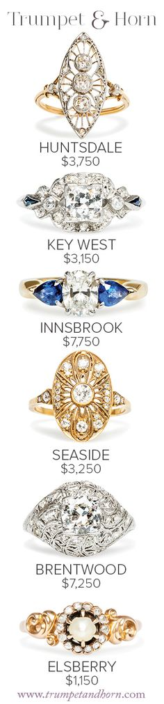 New vintage engagement rings released on the website today... this week it's too hard to pick a favorite! TrumpetandHorn.com